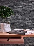 A.S. Création Vliestapete Best of Wood and Stone Tapete in Stein Optik fotorealistische Steintapete Naturstein 10,05 m x 0,53 m grau schwarz Made in Germany 914224 9142-24 - 4