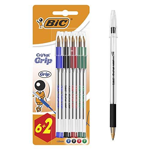 Bic Cristal Grip punta media 1,0 mm confezione 8 penne colore assortito, medio