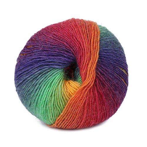 Fogun - Ovillo de lana para tejer, 1 bola, 50 g, tejido a mano, diseño de arcoíris 012