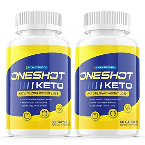 (2 Pack) One Shot Keto Shark Tank Pills, Keto One Shot Advanced Weight Loss Formula Supplement As Seen on TV, Oneshot Keto Exogenous Ketones for Rapid Ketosis (120 Capsules)