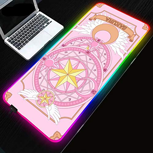 Mouse Pads Pink Series Anime Cardcaptor Sakura RGB Gaming Mouse Pad LED Mouse Pad with 14 Lighting Modes Waterproof Mouse Mat for Computer (900×400×3mm)