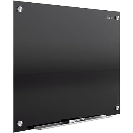 Quartet Glass Whiteboard, Magnetic Dry Erase White Board, 3' x 2', Black Surface, Infinity (G3624B)