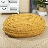 HIGOGOGO Large Boho Stripe Floor Cushion, 24' Round Cotton Linen Floor Pillow Seating with Tassel, Thickness: 8' Stuffed Pouf with Removable Cover Meditation Cushion for Adults, Yellow
