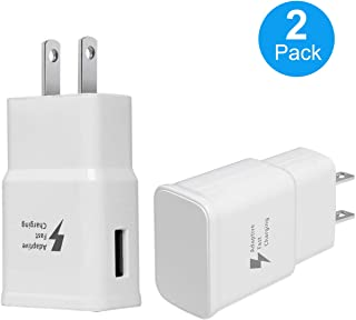 Adaptive Fast Charging Wall Charger Adapter for Samsung Galaxy S6 S7 S8 S9 S10 / Edge/Plus/Active, Note 5,Note 8, Note 9 and More (2 Pack) (White) Aolerx Quick Charge