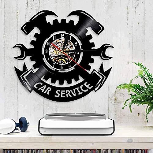 TJIAXU Servicio de Coche Reloj de Pared Herramienta Garaje Llave de Llantas diseño Moderno Vinilo Retro Colgante Cuarzo silencioso