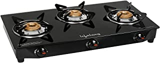 Lifelong Glass Top 3 Burner Gas Stove, Manual Ignition, Black (ISI Certified, Door Step Service)