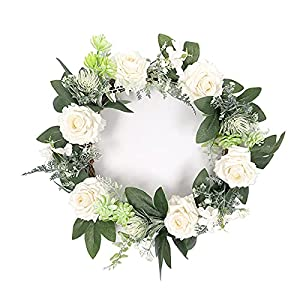 SMLJFO Door Wreaths, 40cm Artificial Rose Flowers Wreath Silk Flower Plastic Spring Summer Wreaths for Front Door Home Wall Window Party Hanging Decor White