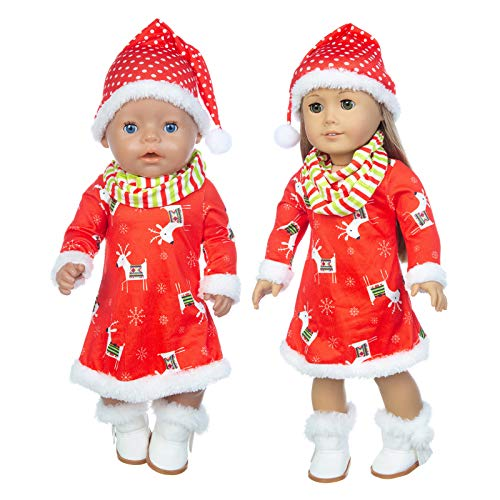 Hongfago Puppe Kleidung zubehör Set, 18 inch Weihnachten Puppe Kleidung Outfits, Kleid, Schal, Schuhe für 43cm Puppen New Born Baby Doll