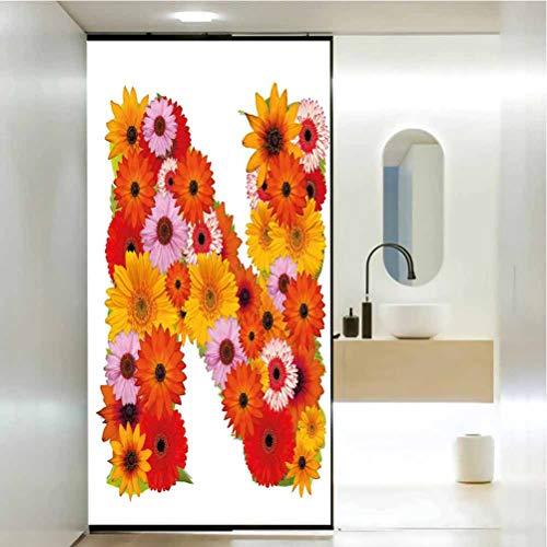 Película de cristal estática sin pegamento, letra N vibrante flores verano esquema...