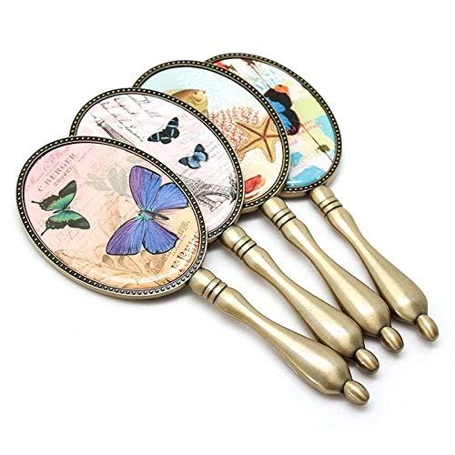 weichuang Espejo de maquillaje con diseño retro creativo, mango de bronce, espejo de maquillaje, espejo de mano, espejo de maquillaje (color: patrón aleatorio)