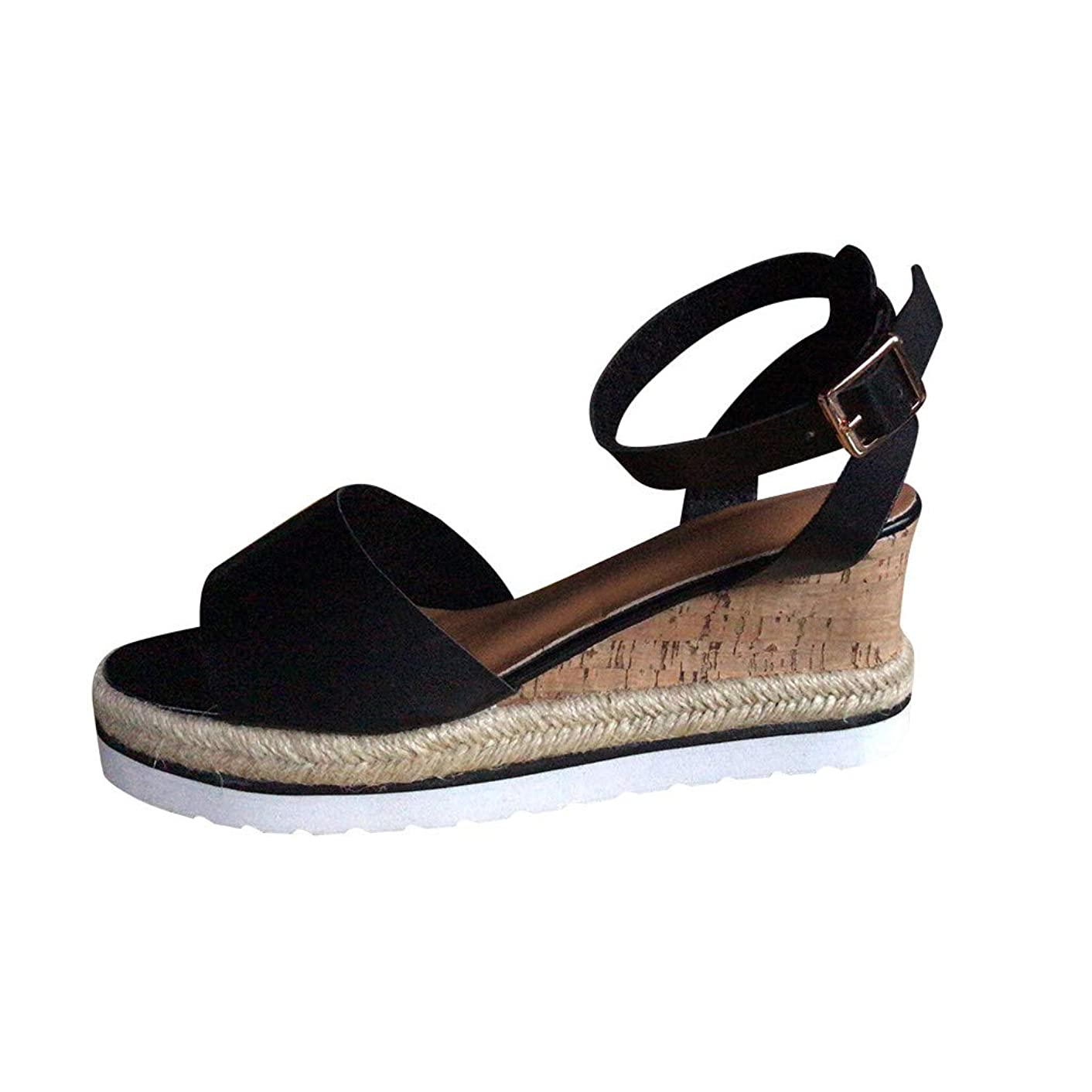 My Heat Women's Wedges Sandals Summer Fish Mouth High Platform Elastic Band Open Toe Slingback Ankle Strap Shoes