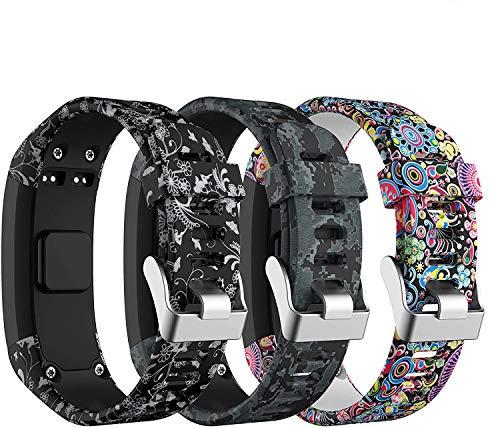 SUPORE Garmin Vivosmart HR Activity Tracker, cinturino in silicone, regolabile, ricambio progettato per Garmin Vivosmart HR Smart Sport Watch, 3 pezzi