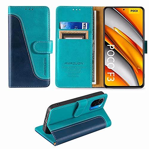 FMPCUON Handyhülle für Xiaomi Poco F3/Xiaomi F3 Pro/Mi 11i Hülle,Premium Klapphülle Handytasche Flip Hülle Handy Hüllen Schutzhülle für Xiaomi Redmi K40/K40 Pro/K40 Pro Plus/K40 Ultra (6.67),Blau/Grün