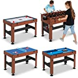 54' 4-in-1 Combo Entertainment Game Table with Soccer, Slide Hockey,...