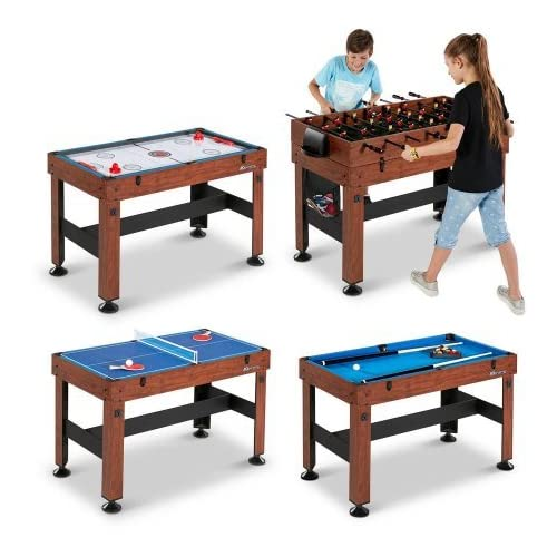 """54"""" 4-in-1 Combo Entertainment Game Table with Soccer, Slide Hockey, Table Tennis, and Billiards (54"""", 4-in-1 Games)"""