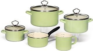 Krüger Batería de Cocina, Esmalte, Verde