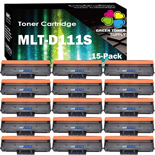 (Super Value Pack, 15-Pack) Compatible MLT-D111S MLTD111S Toner Cartridge 111S D111S Replacement for Samsung Xpress M2070 M2020 Series Printers, Sold by Green Toner Supply