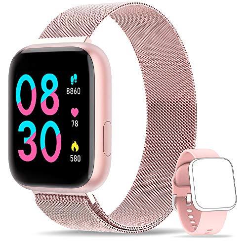 WWDOLL Smartwatch, Reloj Inteligente IP67 con Monitor Rítmo Cardíaco Sueño Podómetro Notificaciones, Reloj Deportivo 1.4 Inch Pantalla Táctil Completa Mujer para iOS y Android (Rosa)