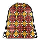 Mochilas de Cuerdas Mochila con cordón de diamante rojo y amarillo regular Saco de gimnasio Bolsa de cincha Bolsa de hilo 36X43CM