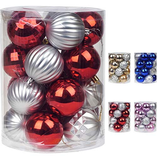 Emopeak Christmas Ball Ornaments Decorative Xmas Balls Baubles Set with Delicate Appearance Pink & Silver (Red, 60mm/2.36'')