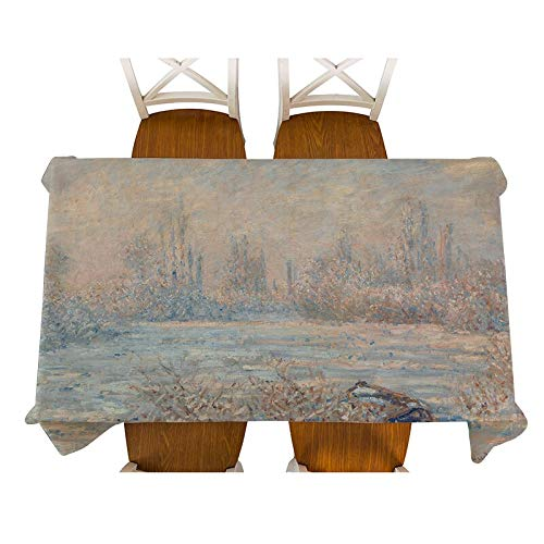 XXDD Monet-Jenny en el jardín Pintura Mantel de Lino Decorativo Impermeable Grueso Rectangular Cubierta de Mesa de Comedor Mantel de té A14 135x180cm