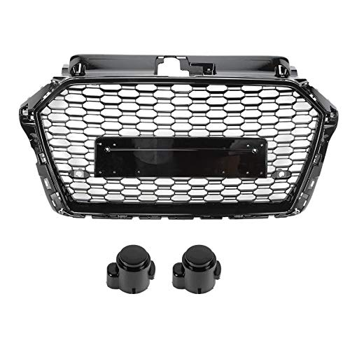 EBDH RS Style Grille, Fit for Audi A3 / S3 / 8V 2017 2018 2019 No Logo Car Accessories Car Vehicle Mesh Grill Grille Refit For