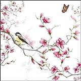 20 tovaglioli con uccellini su fiori rosa come decorazione da tavolo per la primavera e l'estate con farfalla, 33 x 33 cm