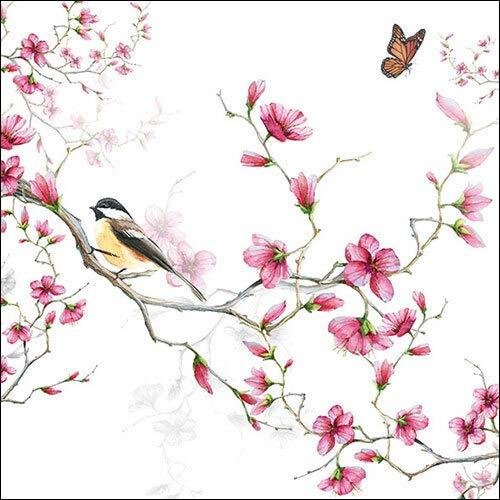 20 Servietten Vogel an Pinke Blüten als Tischdeko für den Frühling und Sommer mit Schmetterling 33x33cm