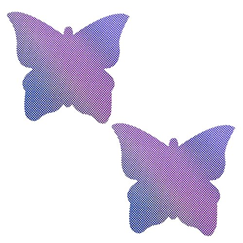 Neva Nude Lustful Lilac Holographic Butterfly Nipztix Pasties Nipple Covers for Festivals, Raves, Parties, Lingerie and More, Medical Grade Adhesive, Waterproof and Sweatproof, Made in USA