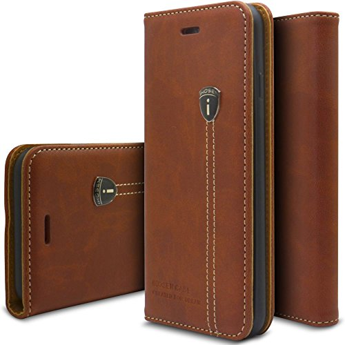 Viwaro kompatibel mit Samsung Galaxy A50 | Echt Leder Hülle Handyhülle Schutzhülle Wallet Book Flip Hülle Cover (Braun)
