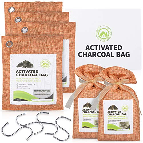 ECO FUTURE Bamboo Charcoal Bags – 6Pcs Enhanced Absorption Capacity Charcoal Air Purifying Bag– Clear Air Purifier Bags with Bamboo Charcoal – Eco-Friendly with No Fragrance – Reusable and Safe – Ideal for Car, Closet, Gym Bag