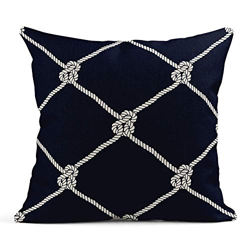 Hemp Rope Tie Throw Pillow Cover Navy Cushion Case for Sofa Soft Cotton Square Pillow Cover Case Case 22x22 Inch Printed