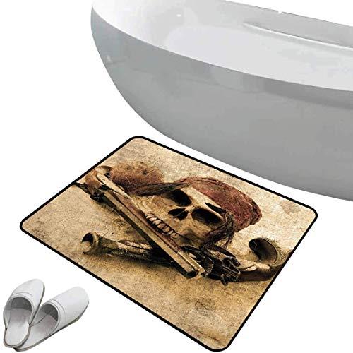 Alfombra de baño antideslizante de felpudo Pirata Alfombrilla goma antideslizante Calavera pirata con pañuelo en la cabeza y pistolas en la playa Pantalla Grunge Peligro Robo Muerte Decorativo,Marrón