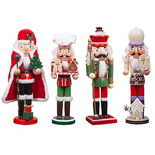 Set of 4 Wooden Christmas Nutcracker Santa Claus Baking Chef Decorative Tabletop Figurine, Holding Gingerbread Man, House, 13.8' Tall