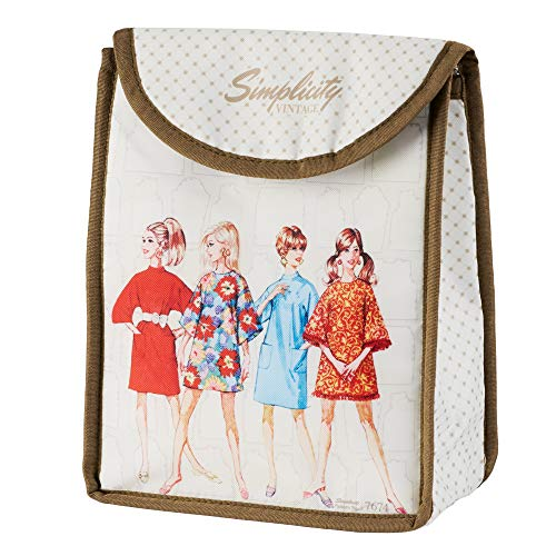 Simplicity Vintage Insulated Lunch Bag, 8'' x 10'' x 4'' Simplicity 7674 Vintage Pattern-Bolsa térmica para el Almuerzo, 20,3 x 25,4 x 10,2 cm