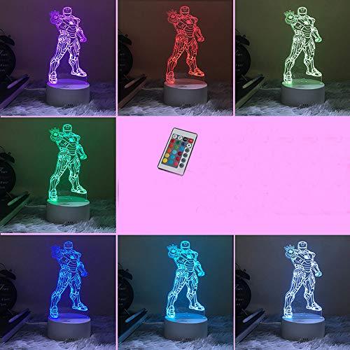 Marvel Noche Luz Noche Al Lado Del Dormitorio Lámpara De Mesa Iron Man American Captain 16 Colors Remote Control Avengers Regalo De Cumpleaños