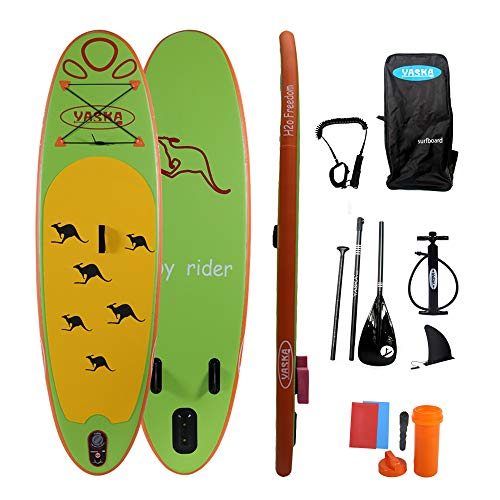 YASKA Children Inflatable Stand Up Paddle Board with SUP, Hand Pump, Adjustable Aluminum Floating Paddle, Repair Kit, Rucksack and Bottom Fin for Paddling
