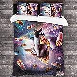 Juego de sábanas de 3 piezas con cierre de cremallera y diseño de gato con estrellas (1 juego de funda de edredón, 2 fundas de almohada) C10155