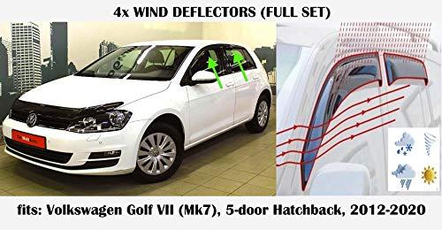 Windabweiser, kompatibel mit Volkswagen Golf 7 VW MK7 5-Türer Schrägheck 2012 2013 2014 2015 2016 2017 2018 2019 2020 Acrylglas Seitenblenden PMMA Fensterabweiser