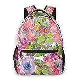 Multifunktionsrucksack Rosa Lila Blumen Grüne Blätter Botanischer Garten Männer und Frauen Casual Style Leinwand Rucksack Schultasche,