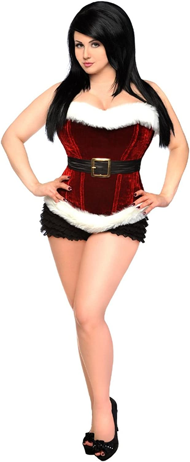 Daisy Corsets Top Drawer Red Holiday Velvet Steel Boned Corset