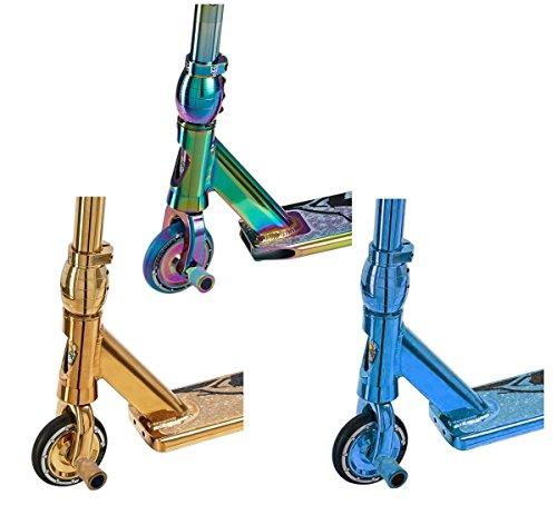 Team Dogz Pro 4Evo 2017 Stunt-Scooter/Tretroller, Farbe Neochrom Regenbogen/Blau/Gold, mit optionalen Stunt-Pegs, Kinder, NeoChrome, With Stunt Pegs