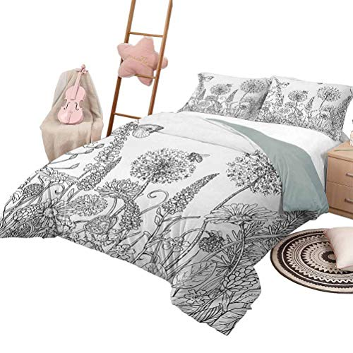 Daybed Quilt Set Floral Soft Lightweight Coverlet for All Season Sketchy Hand Drawn Style Garden with Various Flowers Leaves and Grass Image Full Size Charcoal Grey White