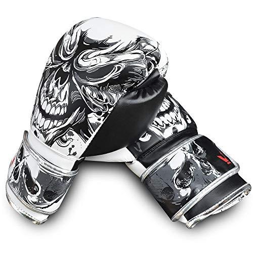Buddha Fight Wear Guantes de Boxeo Skull Blanco y Negro 14 Onzas