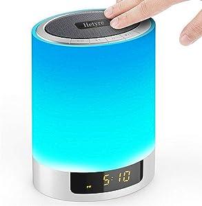 Luces nocturnas Bluetooth Altavoz, Hetyre Touch Sensor LED Lámpara de Mesa Intensable RGB Multicolor con Despertador, TF Card Slot, Llamadas con Manos Libres, para Fiesta, Dormitorio, Exterior