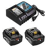 DC18RC / DC18RCT Cargador de Repuesto de 14,4 V-18 V y 2X 18 V 5,0 Ah BL1860B Repuesto baterías para Makita 18 V / 36 V BL1860 BL1860B BL1830 BL1830B BL1815 Baterías de Herramientas Eléctricas