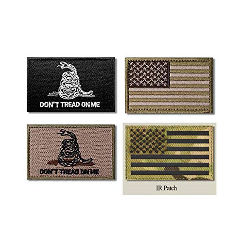 4 Pcs Military Morale Patch Set,Tactical Infrared IR US USA American Flag Patch for Hats Caps Bags Backpacks Vests Military Uniforms