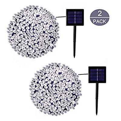 YIQU Solar String Lights Outdoor, 2-Pack Upgraded Durable Solar Lights Outdoor, Waterproof 72ft 200 LED 8 Modes Fairy Lights for Garden Tree Patio Yard Wedding Party Decorations (Cool White)