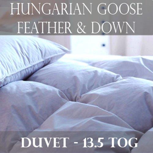 Hungarian Goose Feather & Down Anti Allergy 13.5 Tog Cotton Sateen 233 TC Lightweight Duvet (SuperKing)