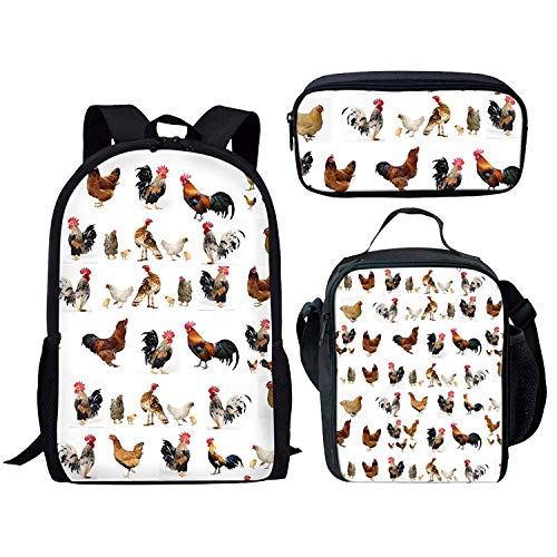 Animal Print Kids 3 Pieces Backpack Set Lunch Bag Pencil Bag -  Rooster-CC3166C+G+K -  Medium